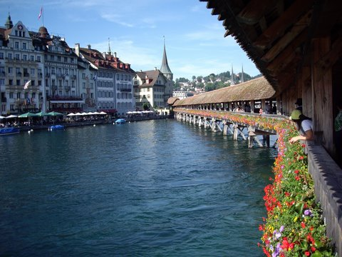 Chapel Bridge in Luzern, Switzerland